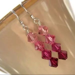 Jewelry - Swarovski Crystal Beaded Sterling Silver Earrings